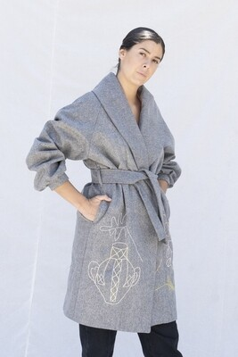 Embroidered Wool Coat