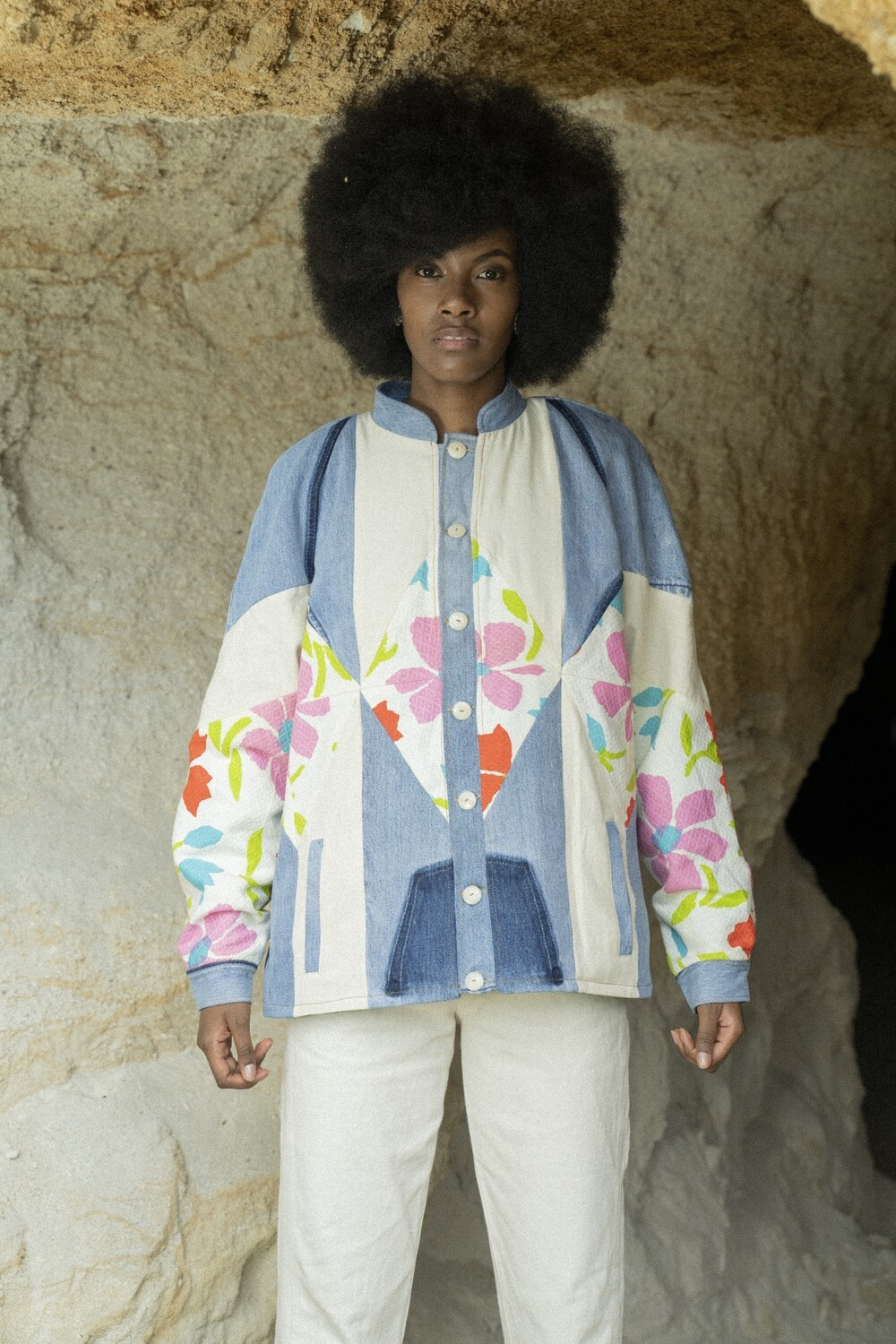 Patchwork Bomber in Flowers