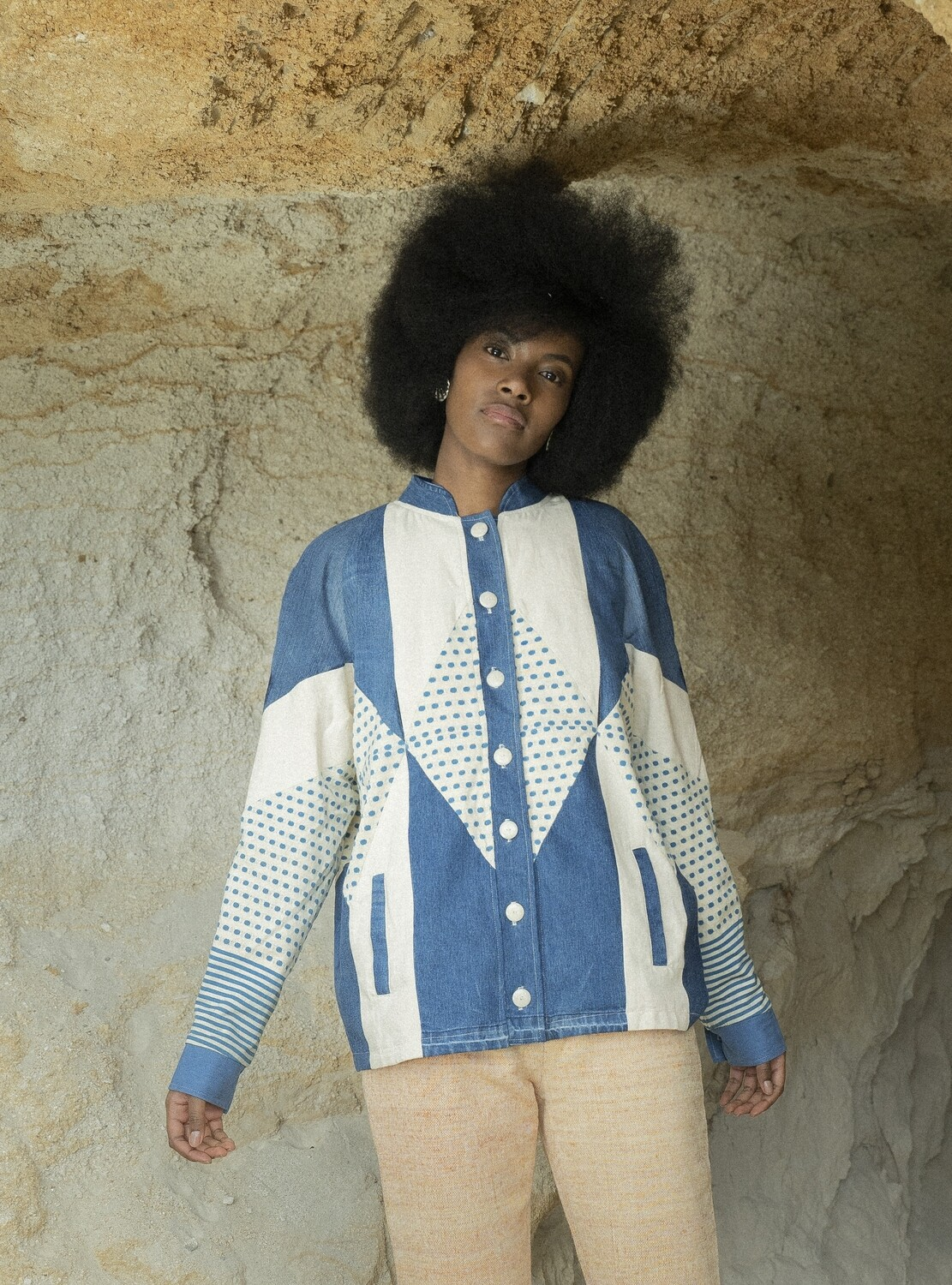 Patchwork Bomber in Blue