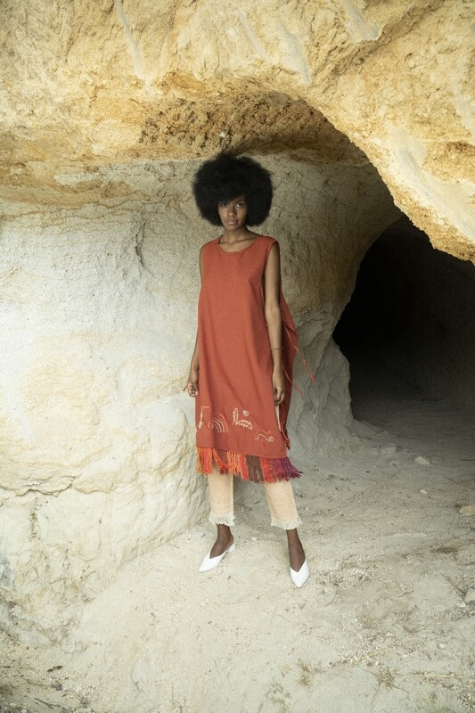 Reversible Embroidered Poncho Dress in Brick