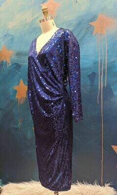 1980s Oleg Cassini Royal Blue Sequin Wrap Dress