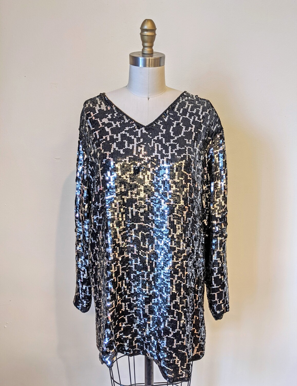 Shimmery Black & Silver 1980s Dominique Tunic
