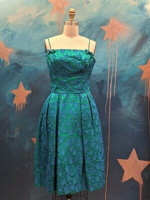 1970s Brocade Fit & Flare Party Dress