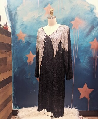1980's Silk Shift Dress w/ Beaded and Sequin Detailing