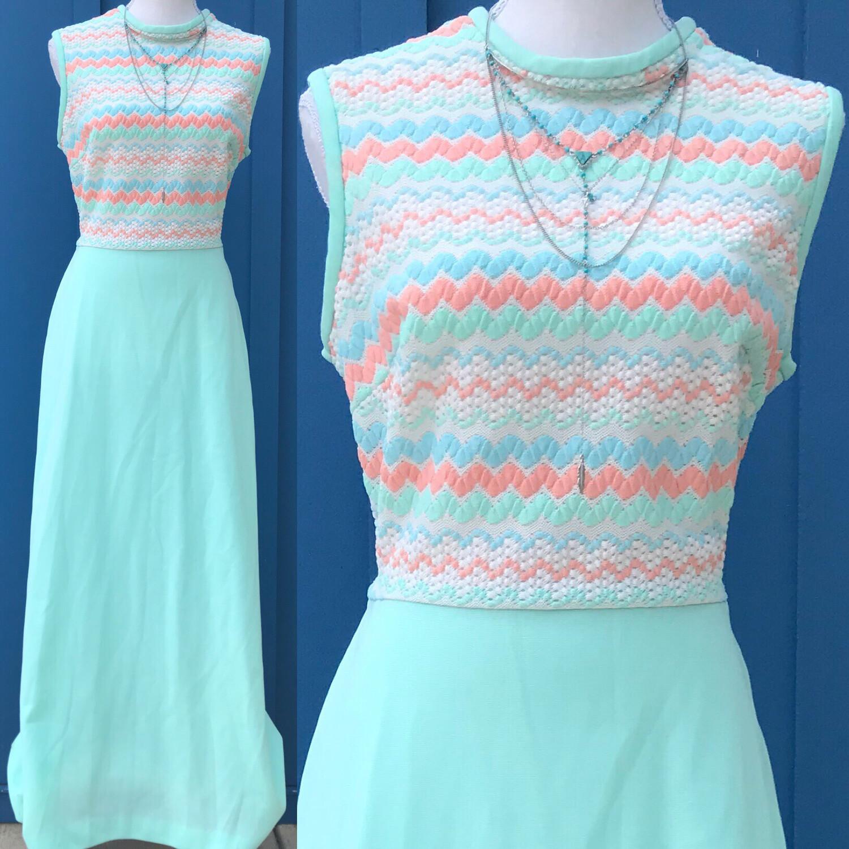 Vintage Mint Green Double Knit Maxi Dress