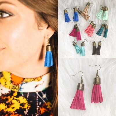 Suede Tassel Earrings | Assorted Colors Available