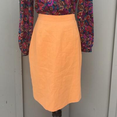 Vintage Orange Linen Pencil Skirt