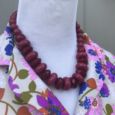 Burgundy Beaded Necklace