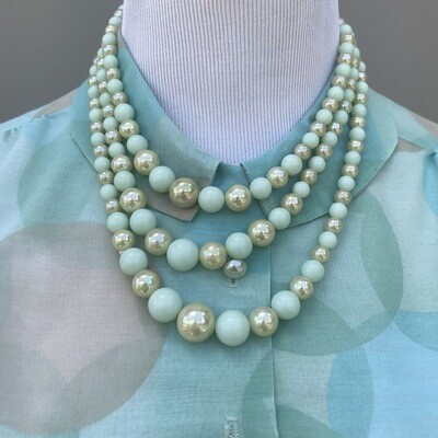 Vintage Beaded 3 Tiered Necklace