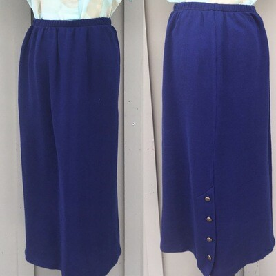 Vintage Royal Blue Pencil Skirt With Back Buttons