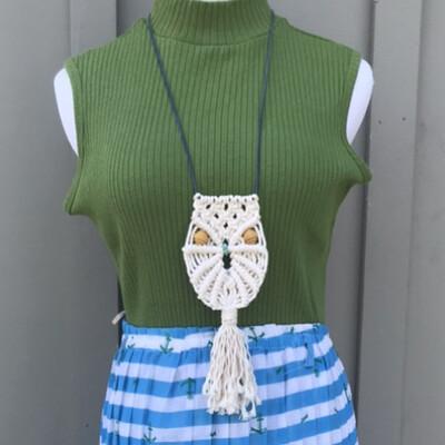 317 Knot Studio Macrame Owl Necklace   Medium