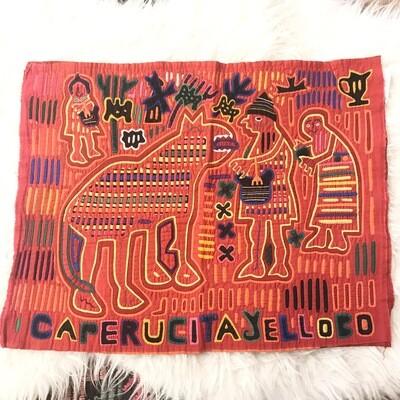 Panama Kuna Red Riding Good Tapestry