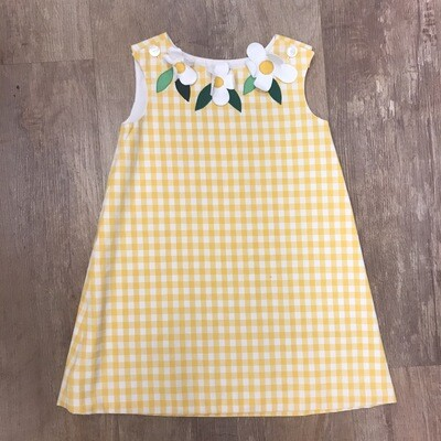 Vintage Yellow Gingham Kids Dress With Flowers