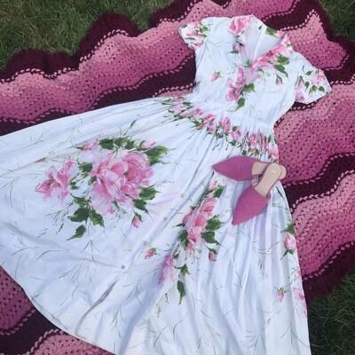 1940s/50s  Handmade Floral Garden Dress