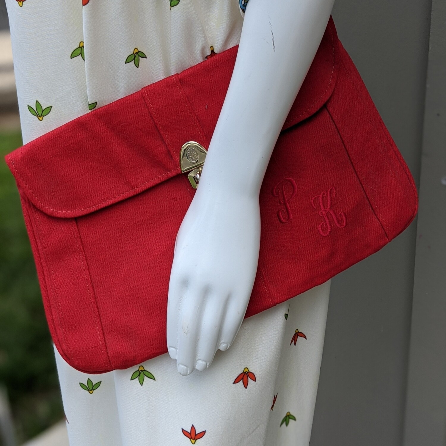 Red Canvas Monogrammed Clutch
