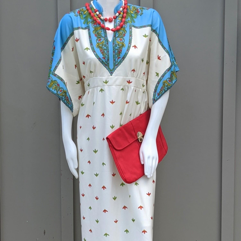 1970s Leslie Fay Kaftan-Style Boho Dress