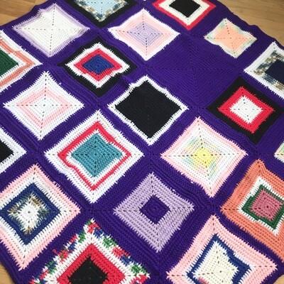 Purple Square Afghan Blanket