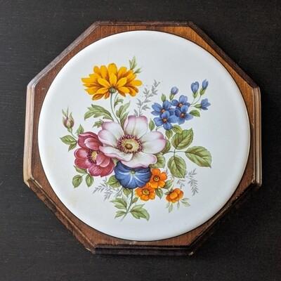 Wooden + Ceramic Floral Wall Plaque / Trivet