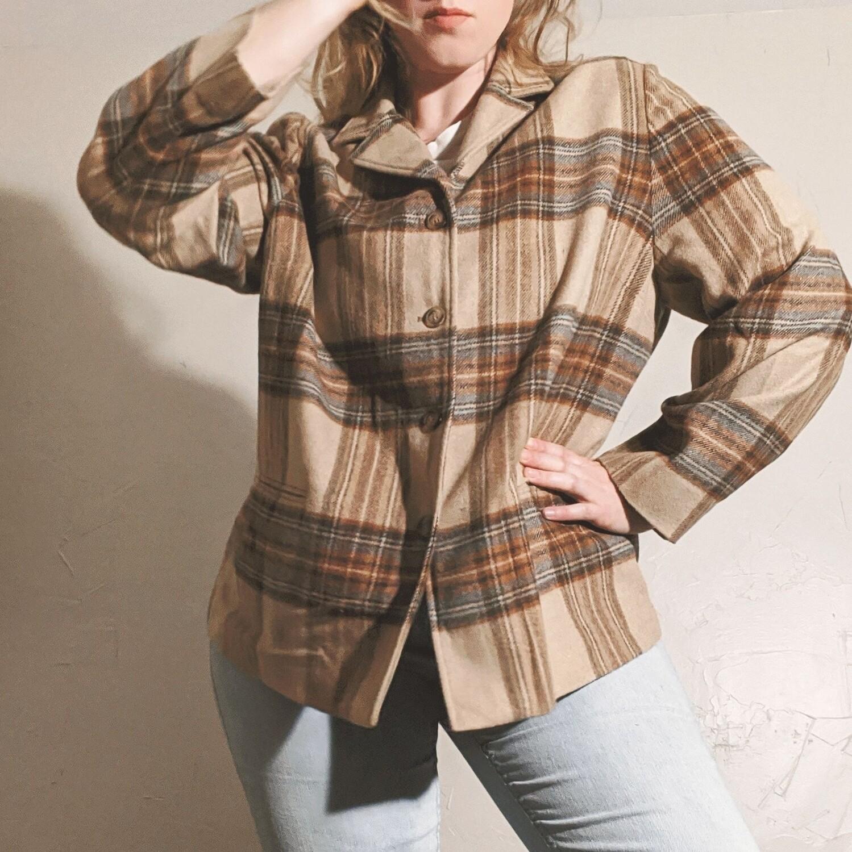 Evan Picone Oversized Wool Flannel Chore Coat