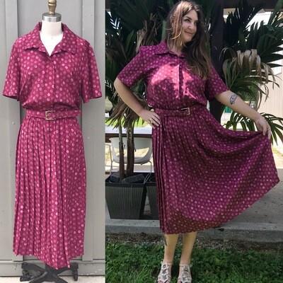 1980s Fuchsia Polka Dot Dress