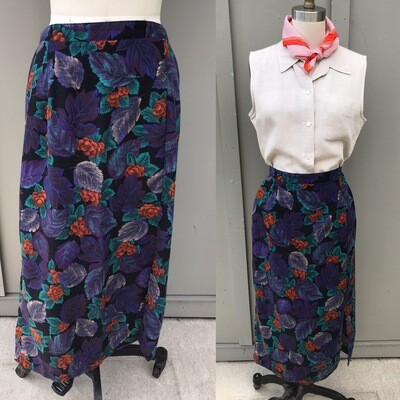 1990s Purple Floral Skirt