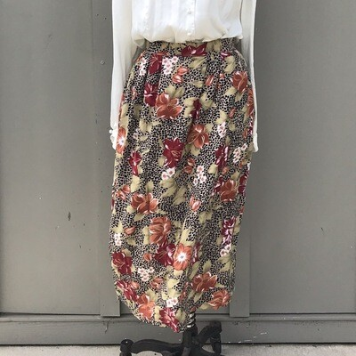1990s Cheetah & Floral Print Skirt