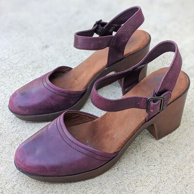Easy Spirit Burgundy Leather Chunky-Heeled Mary Janes