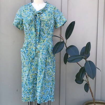 1960s-style Teal Paisley Dress