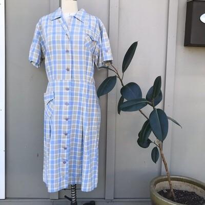 1950s Blue Plaid House Dress