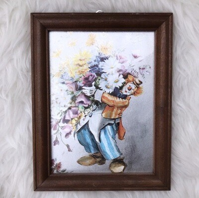 1980's Framed Foiled Clown Picture