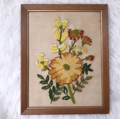 Floral Crewel Wall Hanging | Yellow