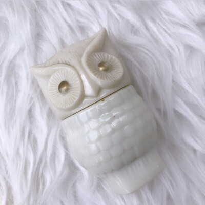 1970's Avon Owl Cream Milk Glass Bottle/ Perfume Decanter