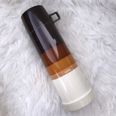 1970's Brown Striped Ombré Thermos