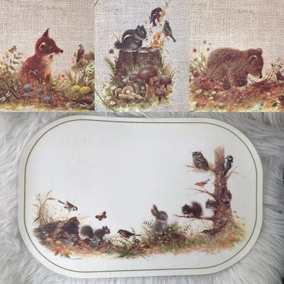 Vintage Woodland Double-Sided Placemats | Set Of 6