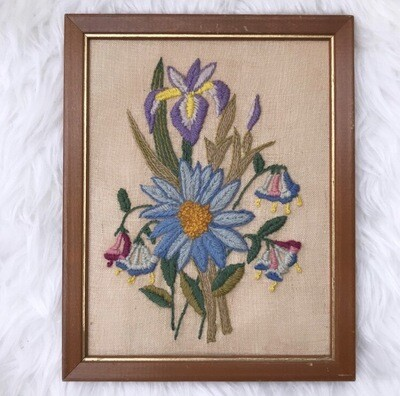 Floral Crewel Wall Hanging | Blue