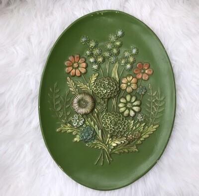 1970's Large Decorative Ceramic Floral Plate
