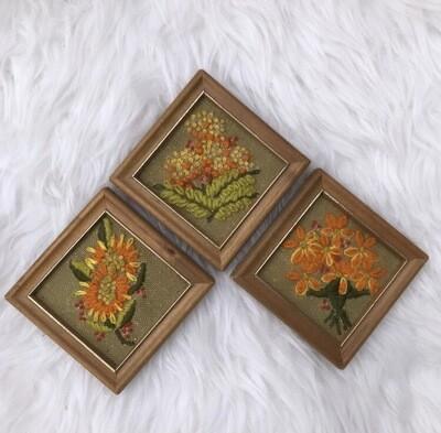 Mini Crewel Framed Florals | Set Of 3