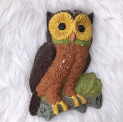 Hand-Painted Ceramic Owl Wall Hanging