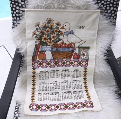 1987 Fabric Wall Calendar/ Tea Towel