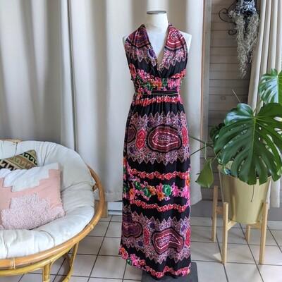 Handmade 1970s Floral Halter Dress