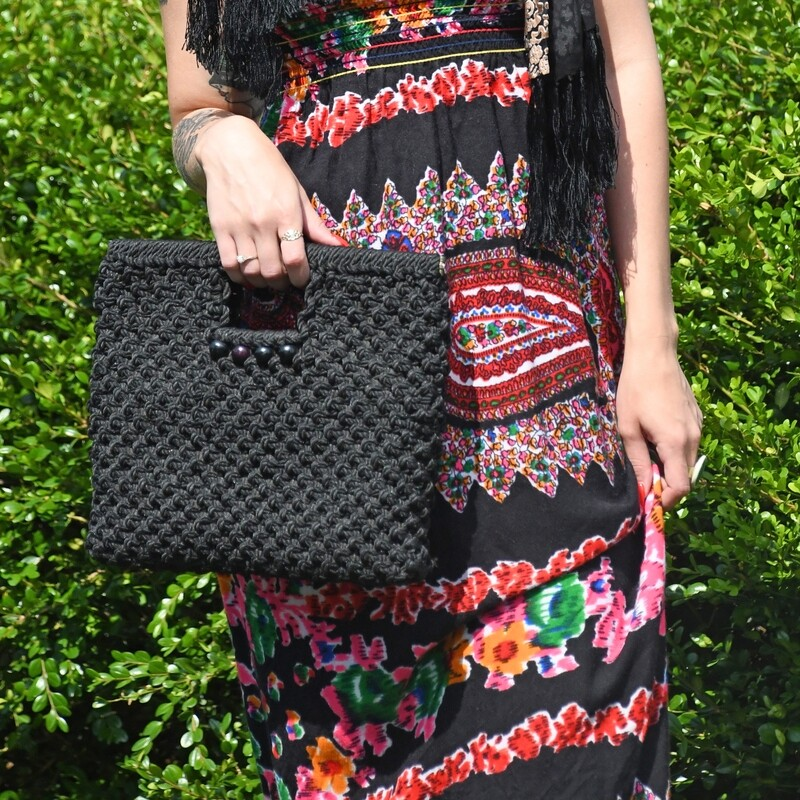 Black Macrame Clutch
