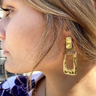 Hammered Brass Rectangle Earrings