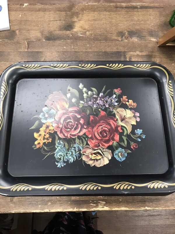 Large Vintage Floral Tin Tray