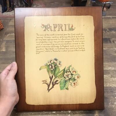 1980s Wooden April Month Plaque