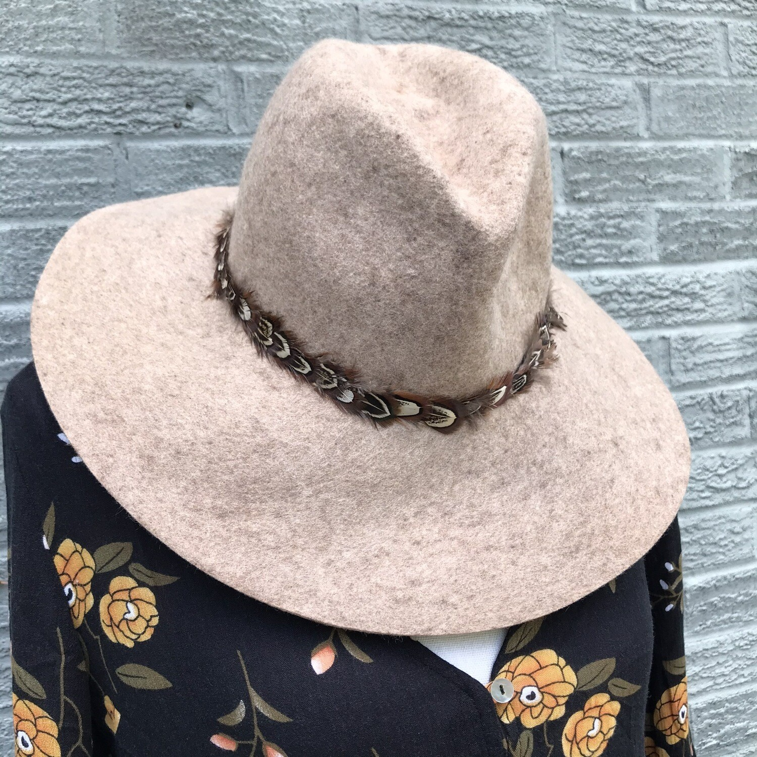Floppy Wool Cowboy Hat With Feather Accent