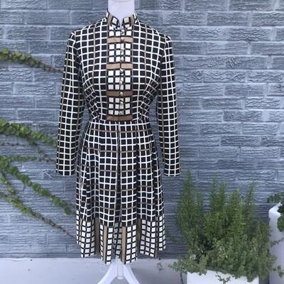 1970s Square Print Dress