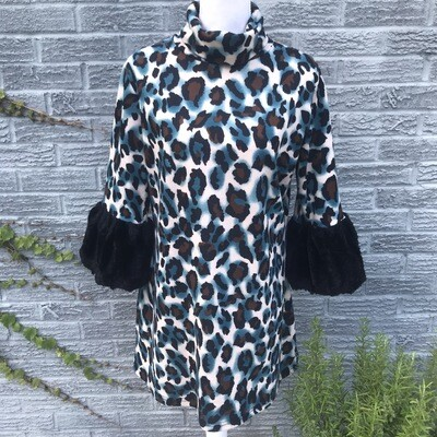 Blue Cheetah Print Dress w/ Fur Sleeves