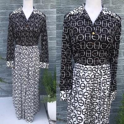 1960s Belt Buckle Print Maxi Dress