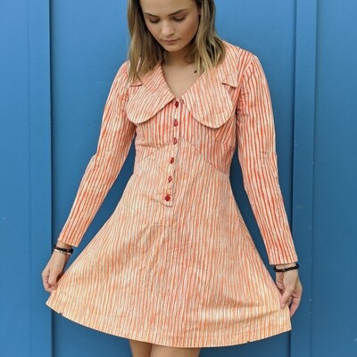 Creamsicle Striped 60s Butterfly Collar Dress