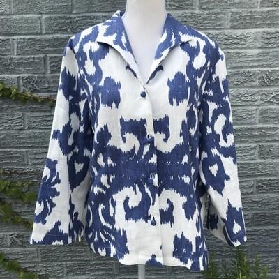 Blue Connie Roberson Linen Jacket